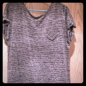 Gray and black striped short sleeved T-shirt